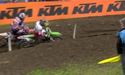 Jeffrey Herlings passes Valentin Guillod and Max Anstie MXGP of Great Britain 2015
